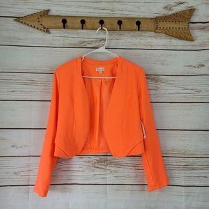 Decree | Neon Open Front Cropped Blazer Jacket